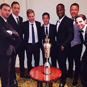 Hazard poses with Chelsea stars at PFA awards