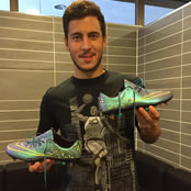 Hazard shows off his latest boots
