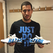 Hazard shows off new personalised boots