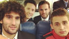 Herrera all smiles with Man Utd trio