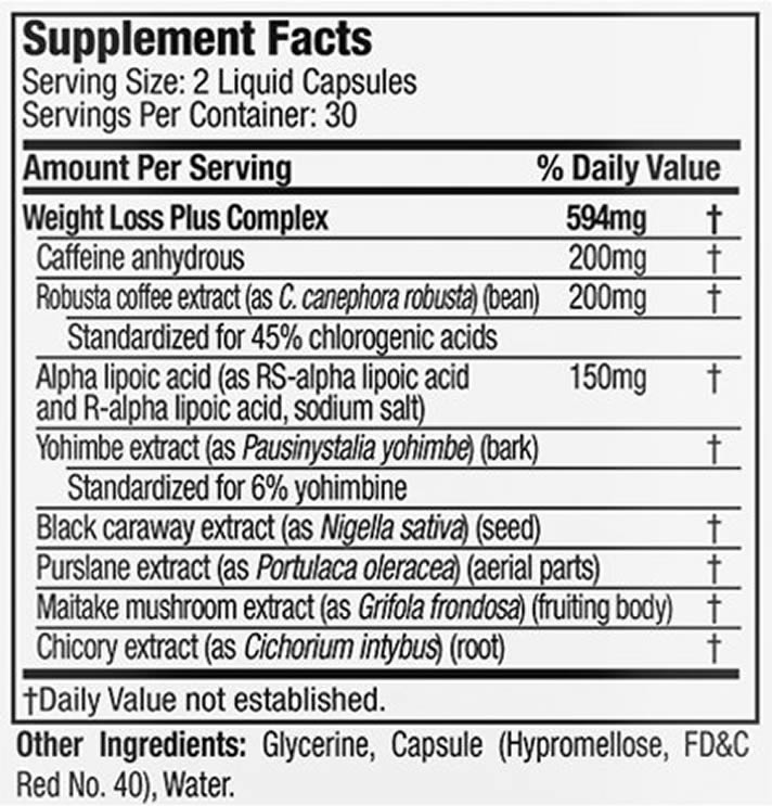 Hydroxycut Black ingredients