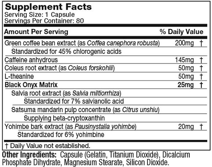 Hydroxycut Black Onyx ingredients