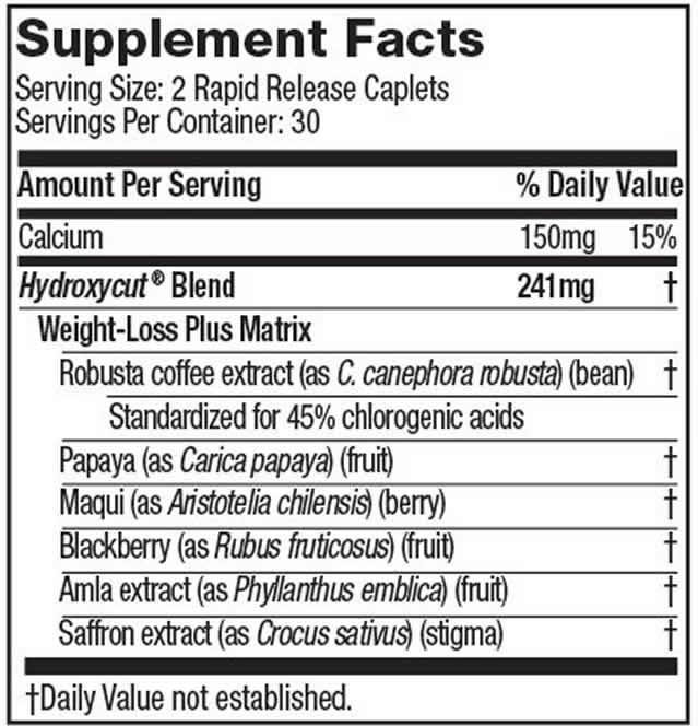 Hydroxycut Caffeine Free ingredients