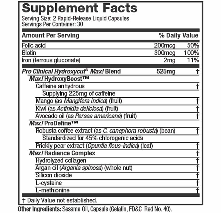 Hydroxycut Max For Women ingredients