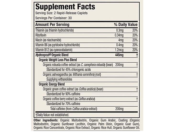 The Hydroxycut Organic Ingredients Formula, as shown on Amazon.com at the time of writing