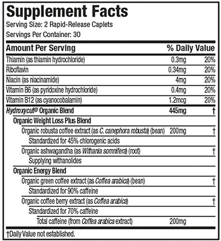Hydroxycut Organic Ingredients