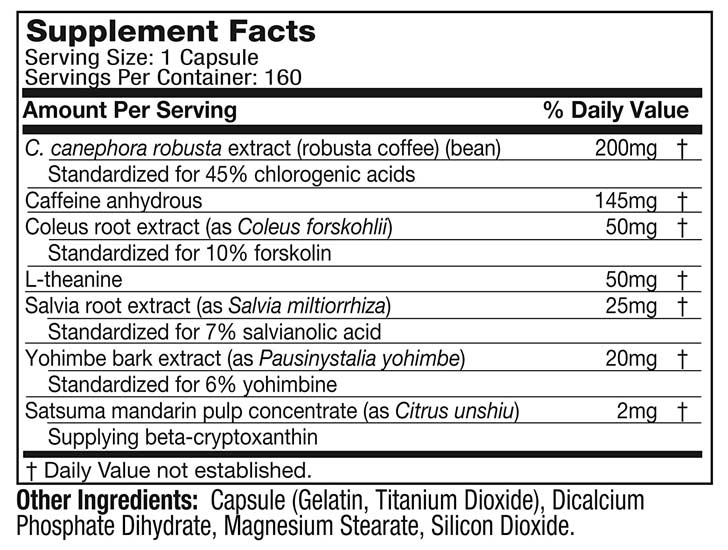 The Hydroxycut SX-7 Black Onyx ingredients formula shown on Amazon.com at the time of writing