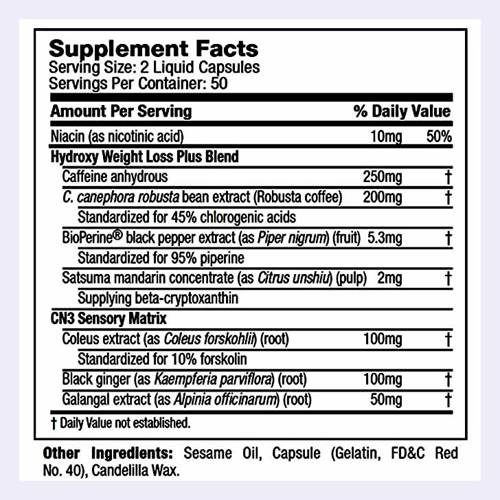 Hydroxycut Titanium ingredients