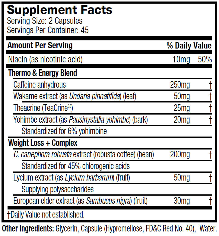 Hydroxycut Ultra Stim ingredients