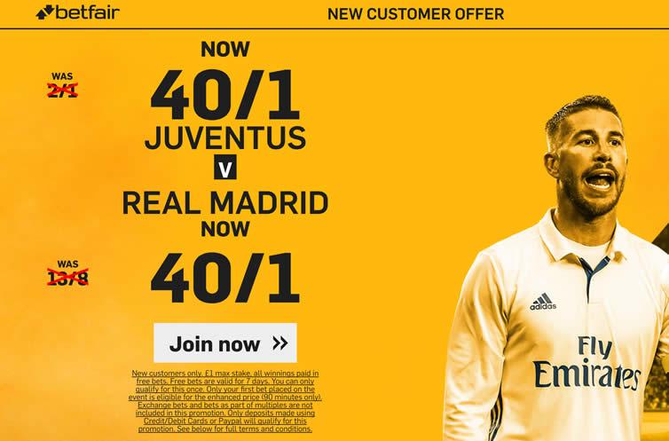 Real Madrid v Juventus: 40/1 enhanced odds, prediction and