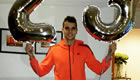 Photo: Erik Lamela poses with birthday balloons after Tottenham win
