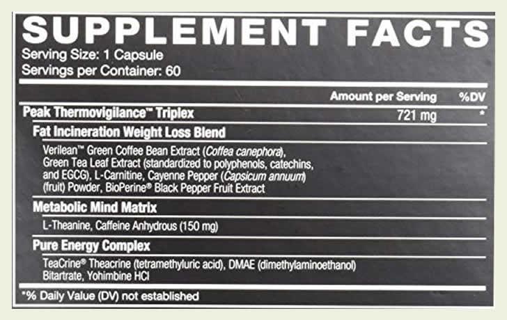 LeanFire XT ingredients