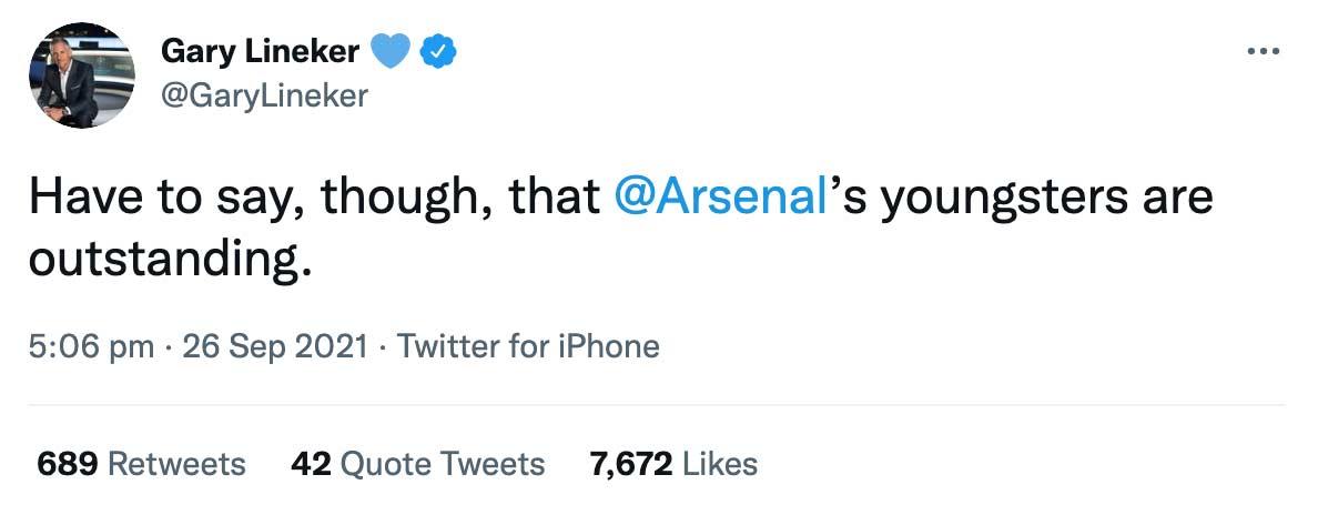 Lineker Arsenal tweet