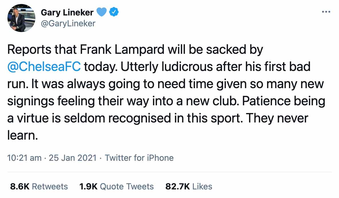 Lineker Lampard Tweet