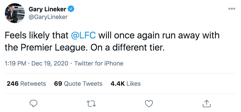 Gary Lineker Liverpool FC title tweet