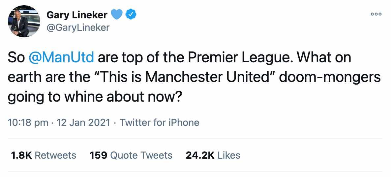 Lineker Man United Tweet