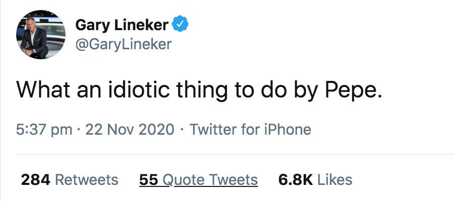 Lineker Pepe Tweet