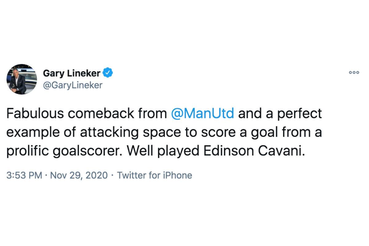 Gary Lineker's Twitter reaction after Edinson Cavani's winner on Sunday (Photo: Gary Lineker / Twitter)