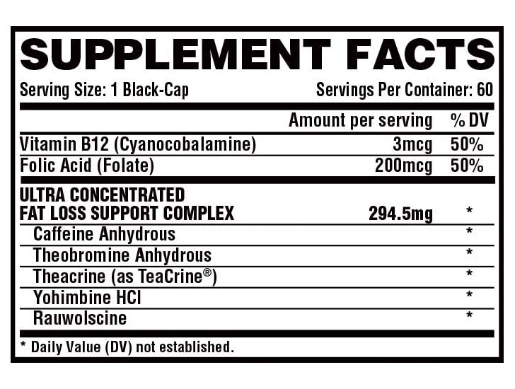 The Lipo 6 Black Hers Ultra Concentrate ingredients formula shown on Amazon.com at the time of writing