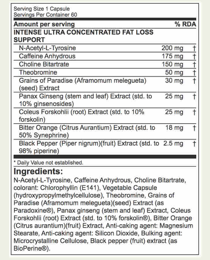 The Lipo-6 Black Intense ingredients formula, as shown on the bodybuilding.com website at the time of writing