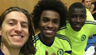Photo: Chelsea midfielders all smiles after training