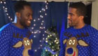 Distin and Lukaku getting into Xmas spirit