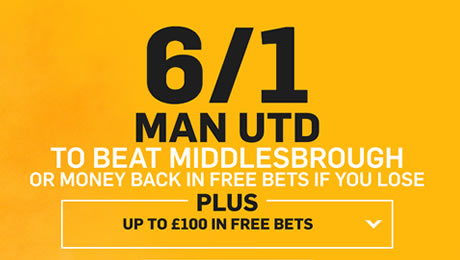 Man United v Middlesbrough: 6/1 enhanced odds, kick-off time and prediction