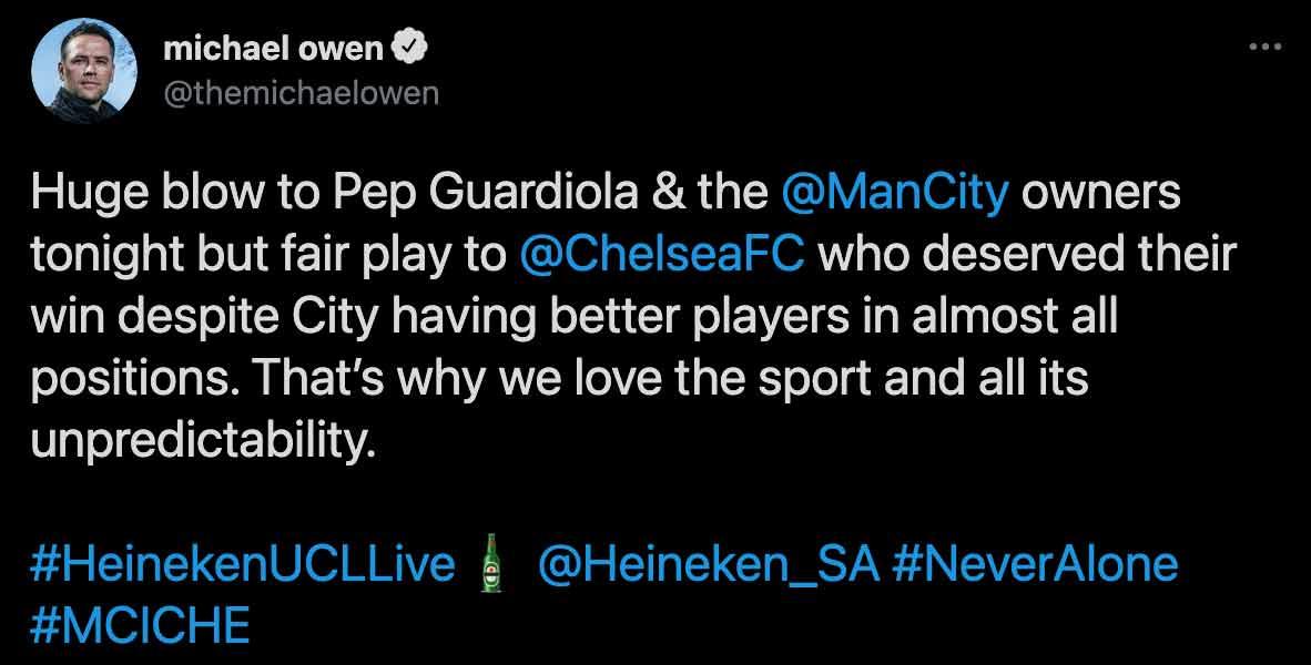 Michael Owen Chelsea FC Tweet
