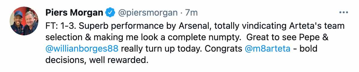Piers Morgan tweet Arsenal FC