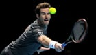 Photo: Andy Murray almost hits coach Amelie Mauresmo with serve