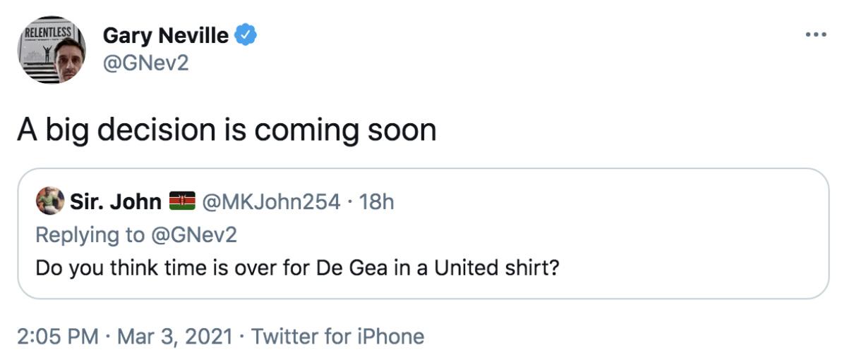 Neville De Gea Tweet