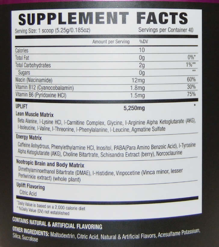 NLA Uplift Pre Workout ingredients