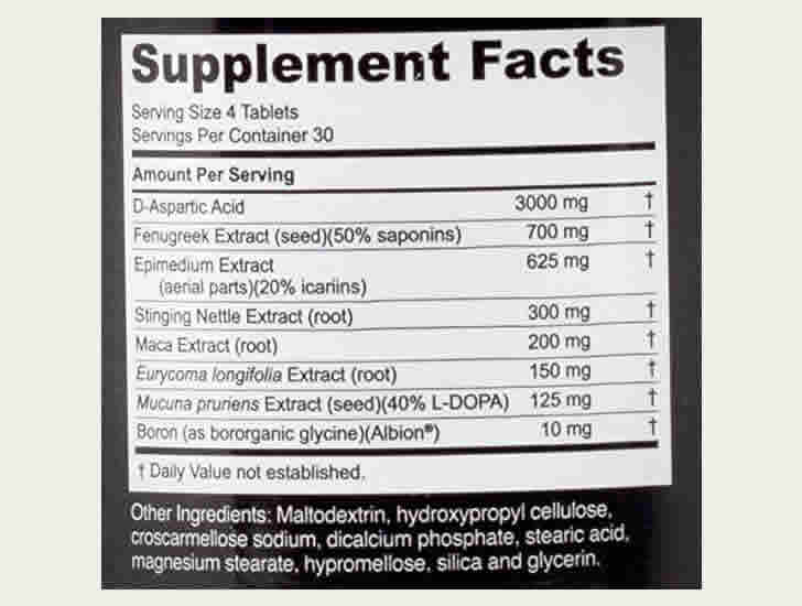 The Nugenix Ultimate Testosterone ingredients formula, as shown on Amazon.com at the time of writing