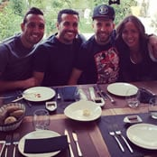 Pedro enjoys lunch with Cazorla and Alba