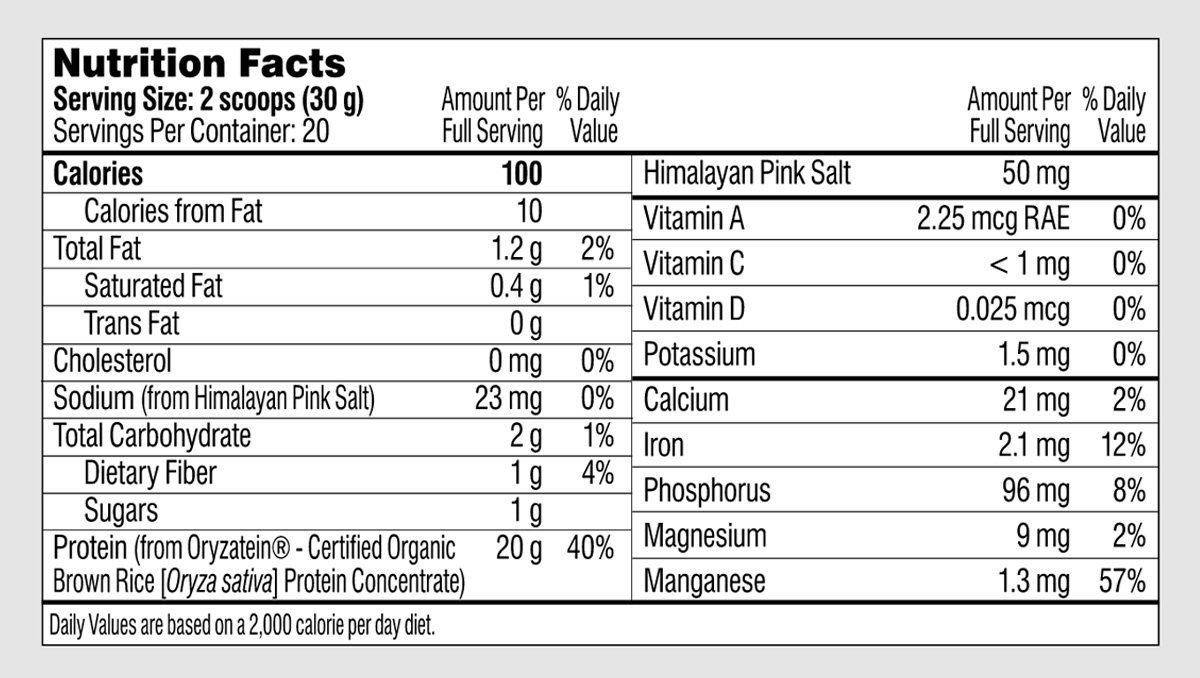 Performance Lab SPORT Protein Nutrition Facts