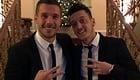 Ozil and Podolski all smiles at Christmas dinner