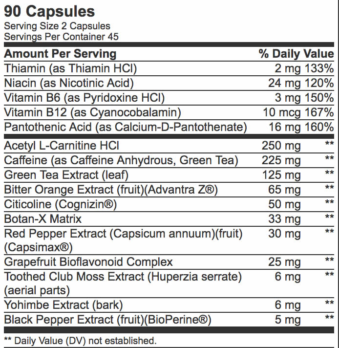 Ripped Edge BSN ingredients list