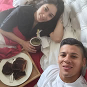 Rojo enjoys breakfast in bed