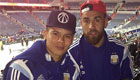 Photo: Man Utd's Marcos Rojo and Man City star Sergio Aguero enjoy NBA game