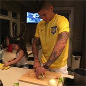 Rojo cooks family dinner
