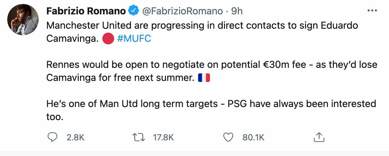 Fabrizio Romano Man United transfer