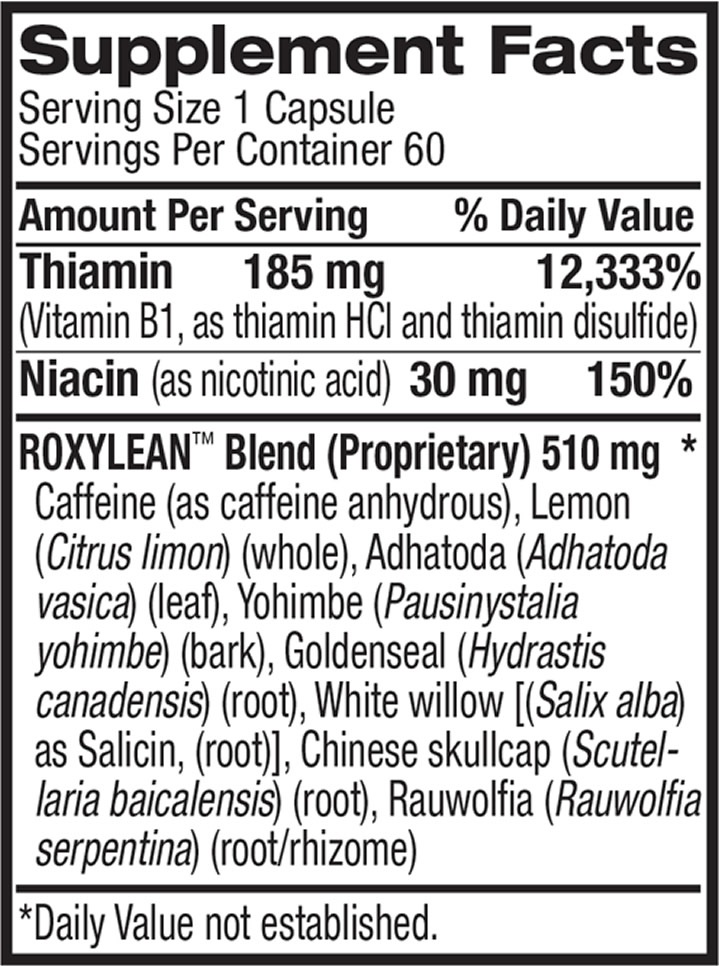 The Roxylean active ingredients formula, as shown on Amazon.com at the time of writing