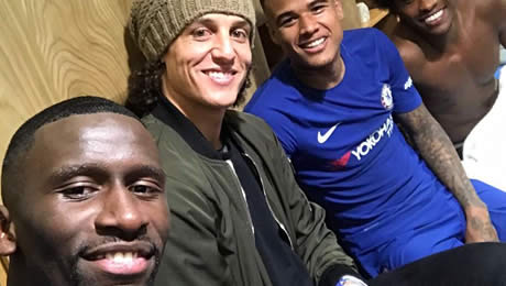 Photo: Chelsea signing poses with three Brazilians after cup victory