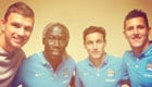 Ex-Arsenal defender Bacary Sagna poses with Man City team-mates