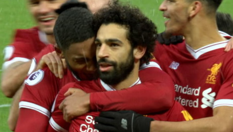 Liverpool FC star Mo Salah reacts to Man United's Champions League exit