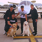 Sanchez jets off on holiday with his dogs