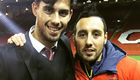 Cazorla poses with Suso after Anfield draw