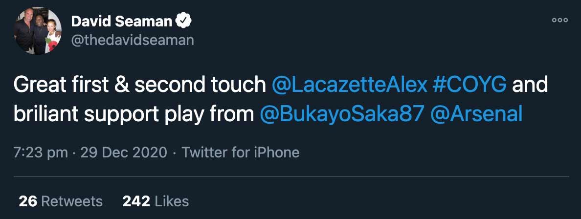 David Seaman Tweet