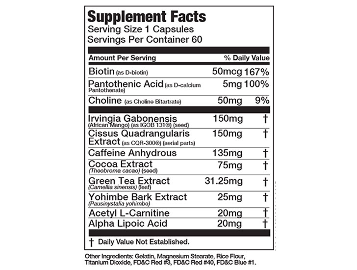 The Shredz Burner Max For Women ingredients formula, shown on Amazon.com at the time of writing