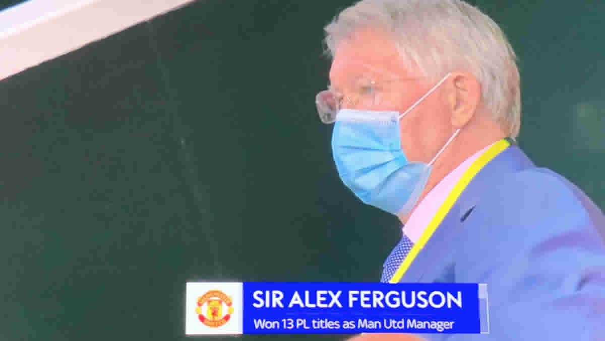 Sir Alex Ferguson was in the stands at Old Trafford on Monday night (Photo: Sky Sports)